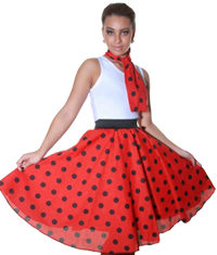 Ladies Polka Skirt and Scarves