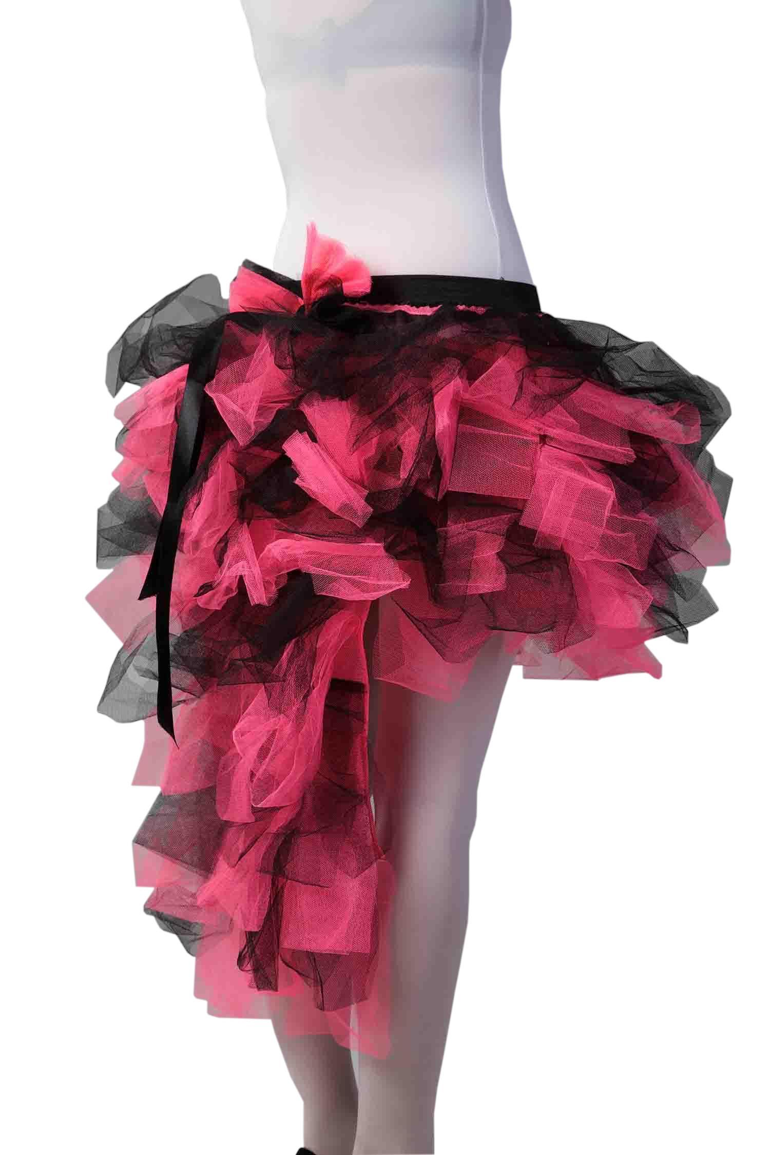 Crazy Chick Long Tail Burlesque Black And Pink Tutu Skirt