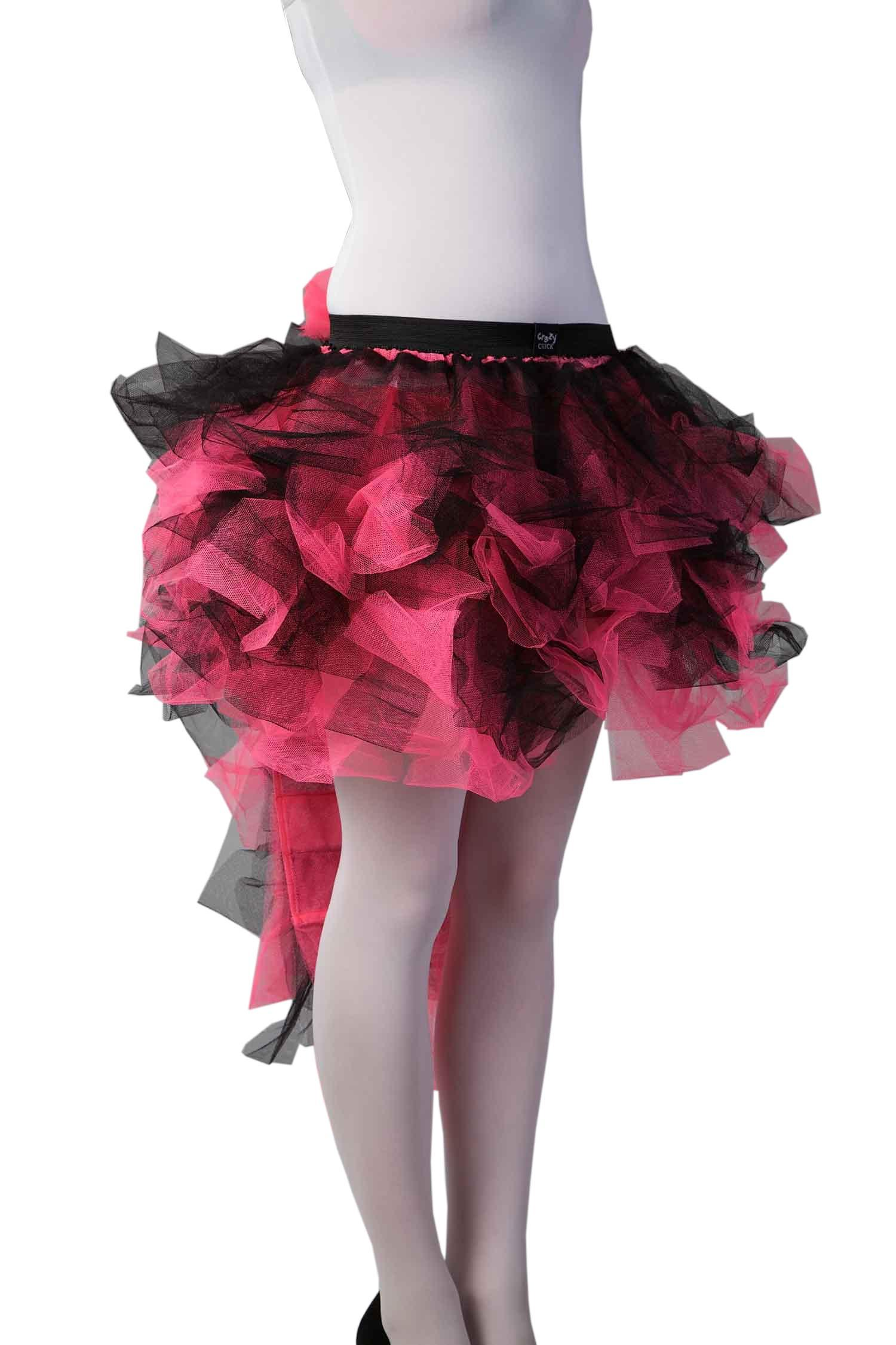 Crazy Chick Long Tail Burlesque Black and Pink TuTu Skirt