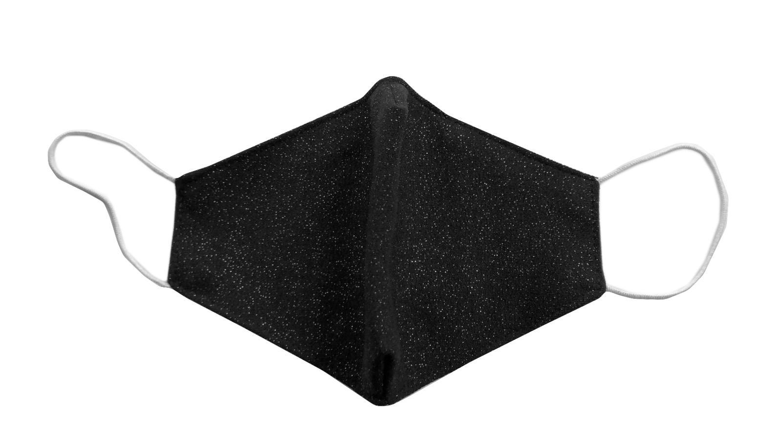 Black Silver Print Face Mask With Filter Pocket