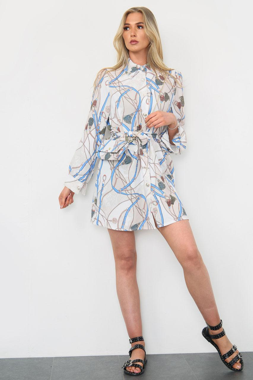 Printed Shirt Dress With Matching Bag Beige