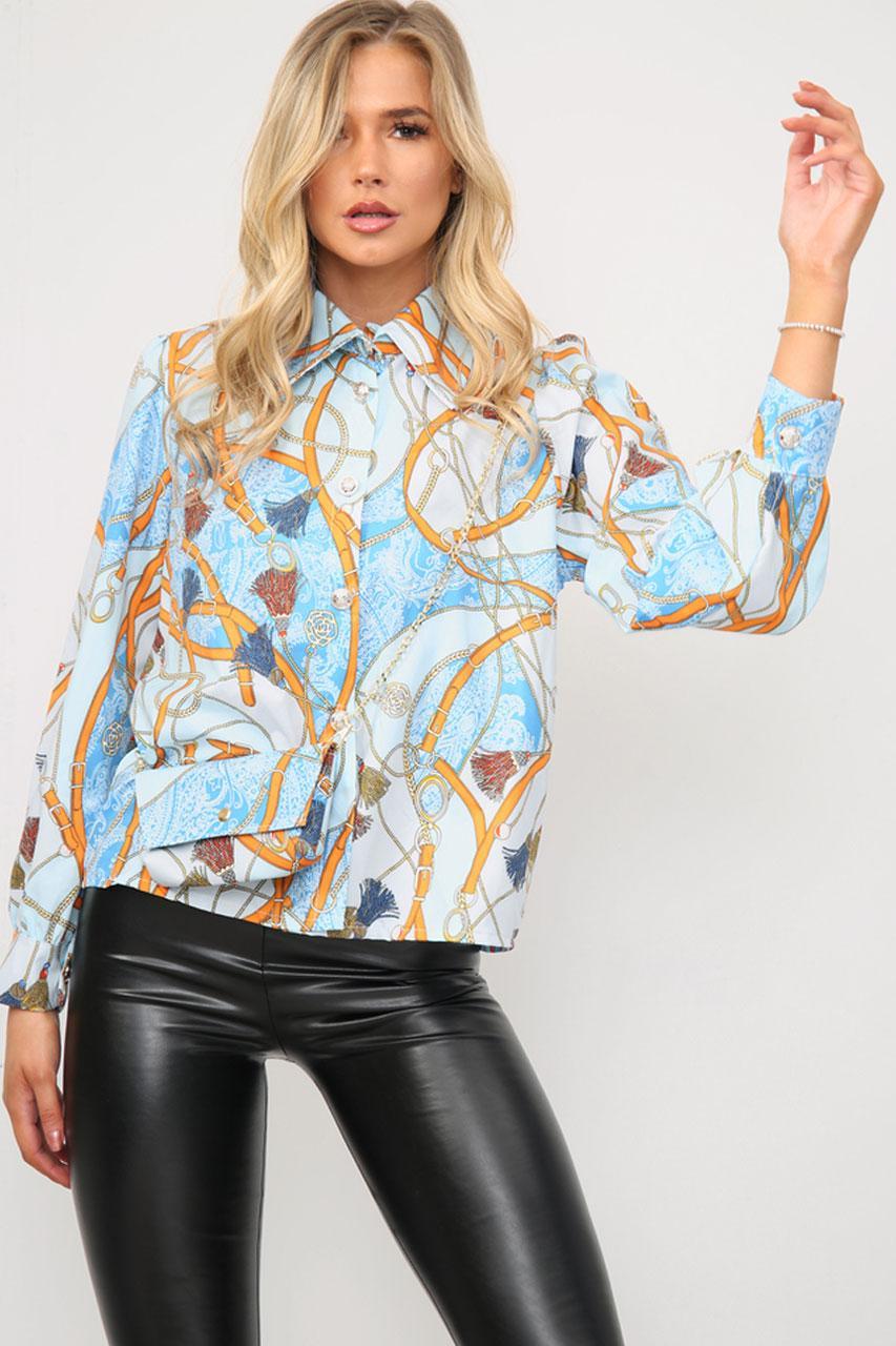 Printed Shirt With Matching Bag Orange