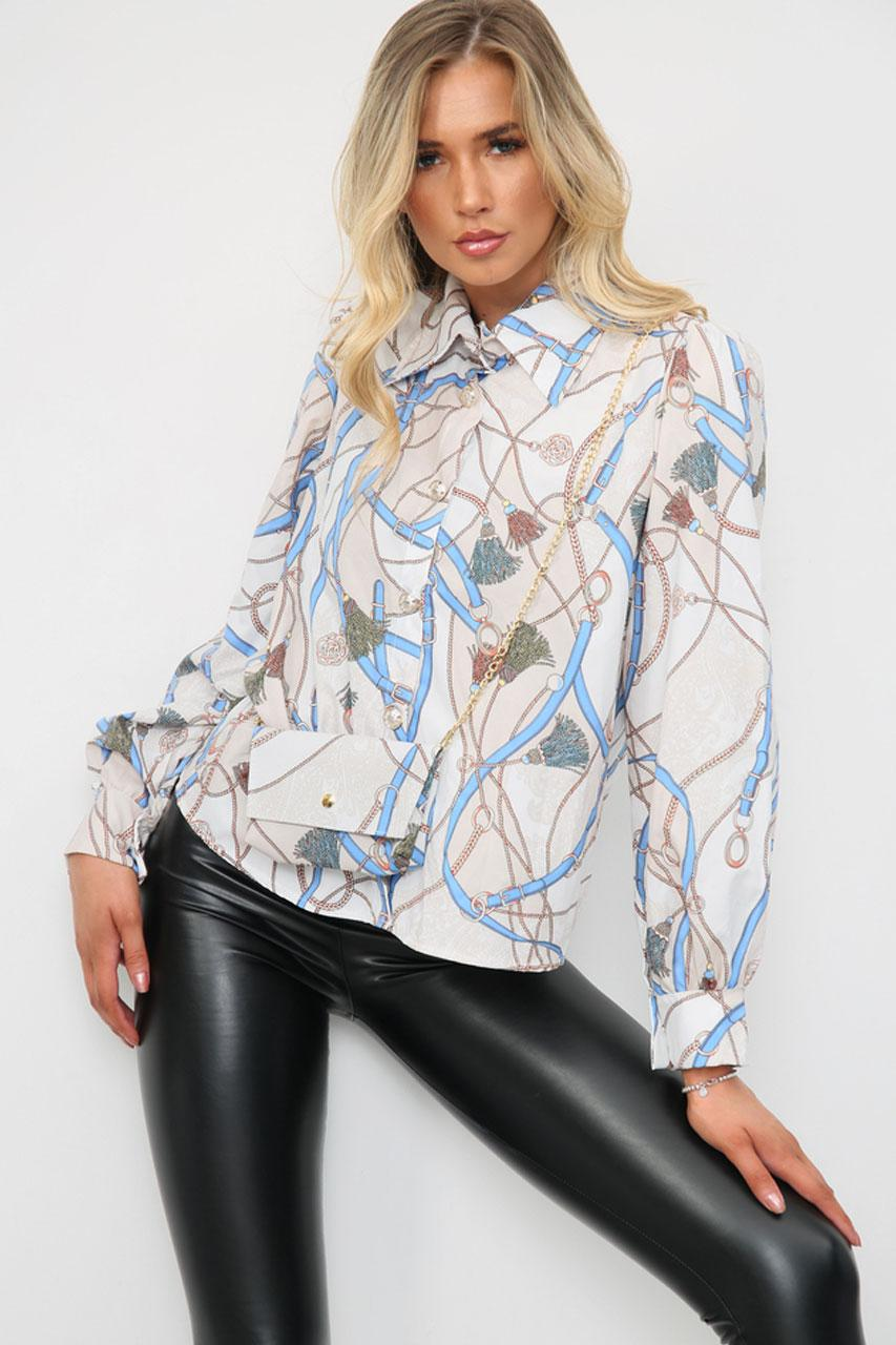 Printed Shirt With Matching Bag Beige