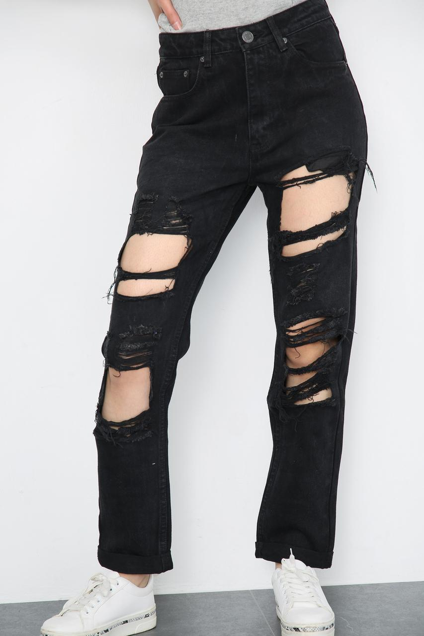 Ripped Turn up Hem Jeans Black