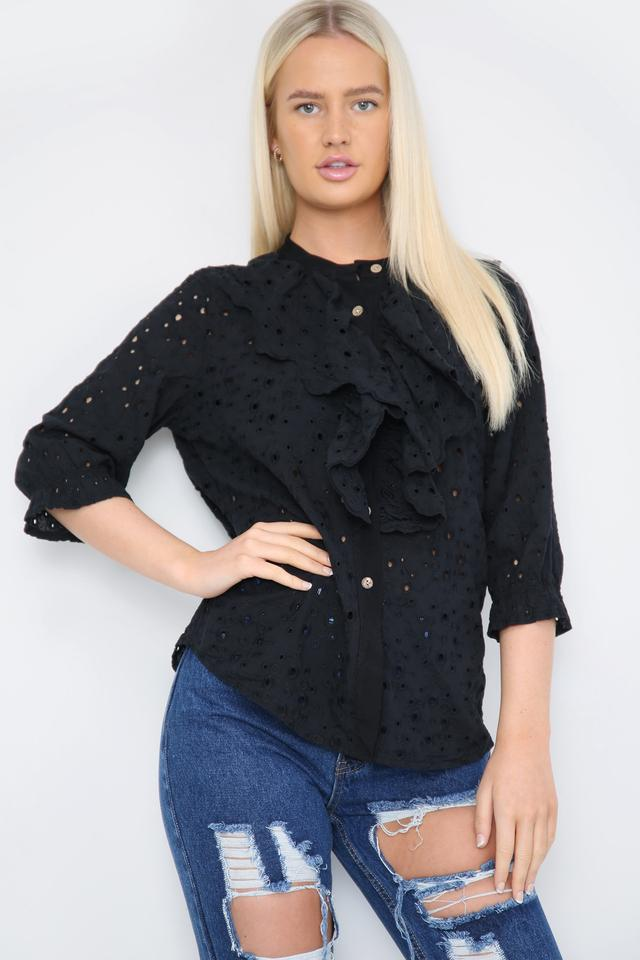 Ruffle Front Shirt Black