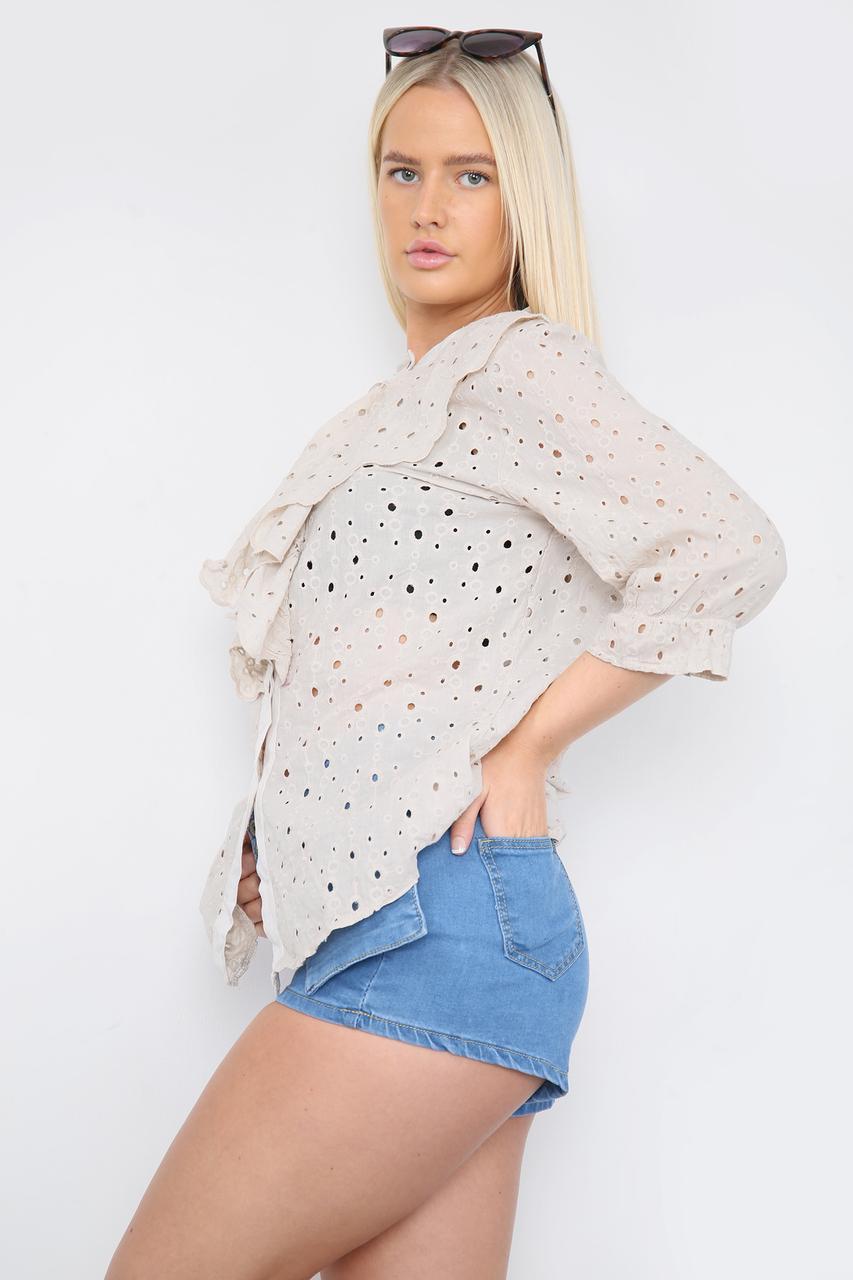 Ruffle Front Shirt Beige