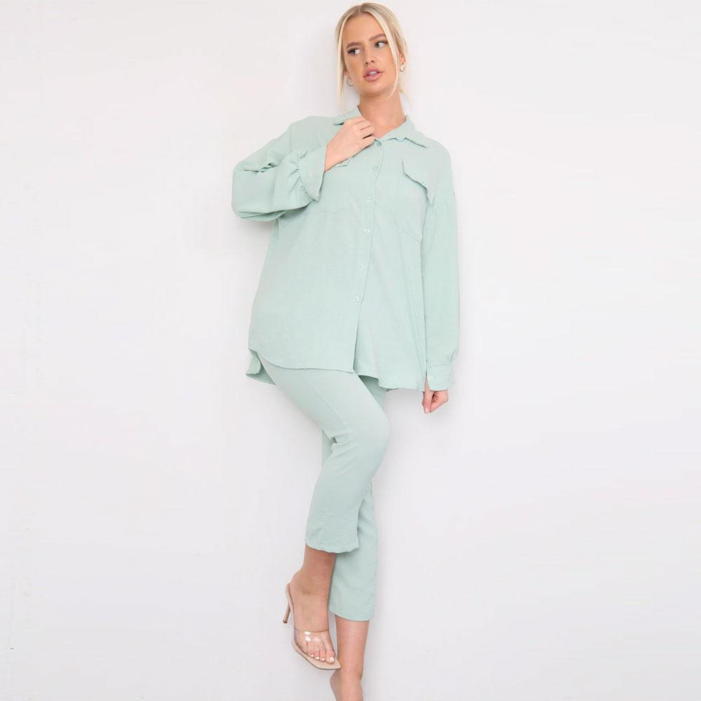 Shirt Capri Trouser Co-Ord Set Green