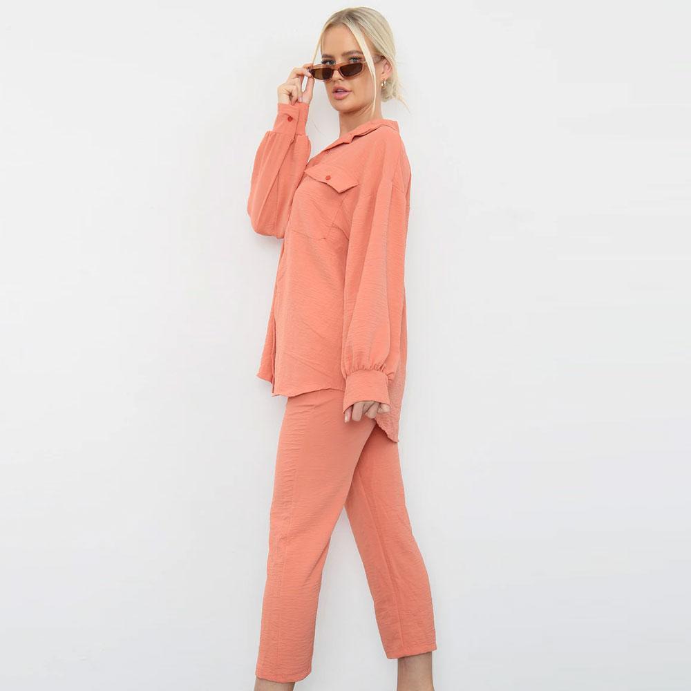 Shirt Capri Trouser Co-Ord Set Coral