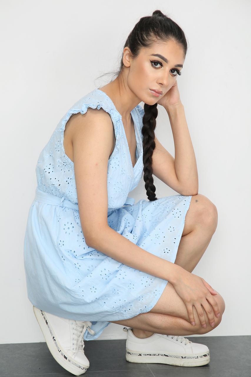 Tie Waist V-Neck Mini Dress Beige