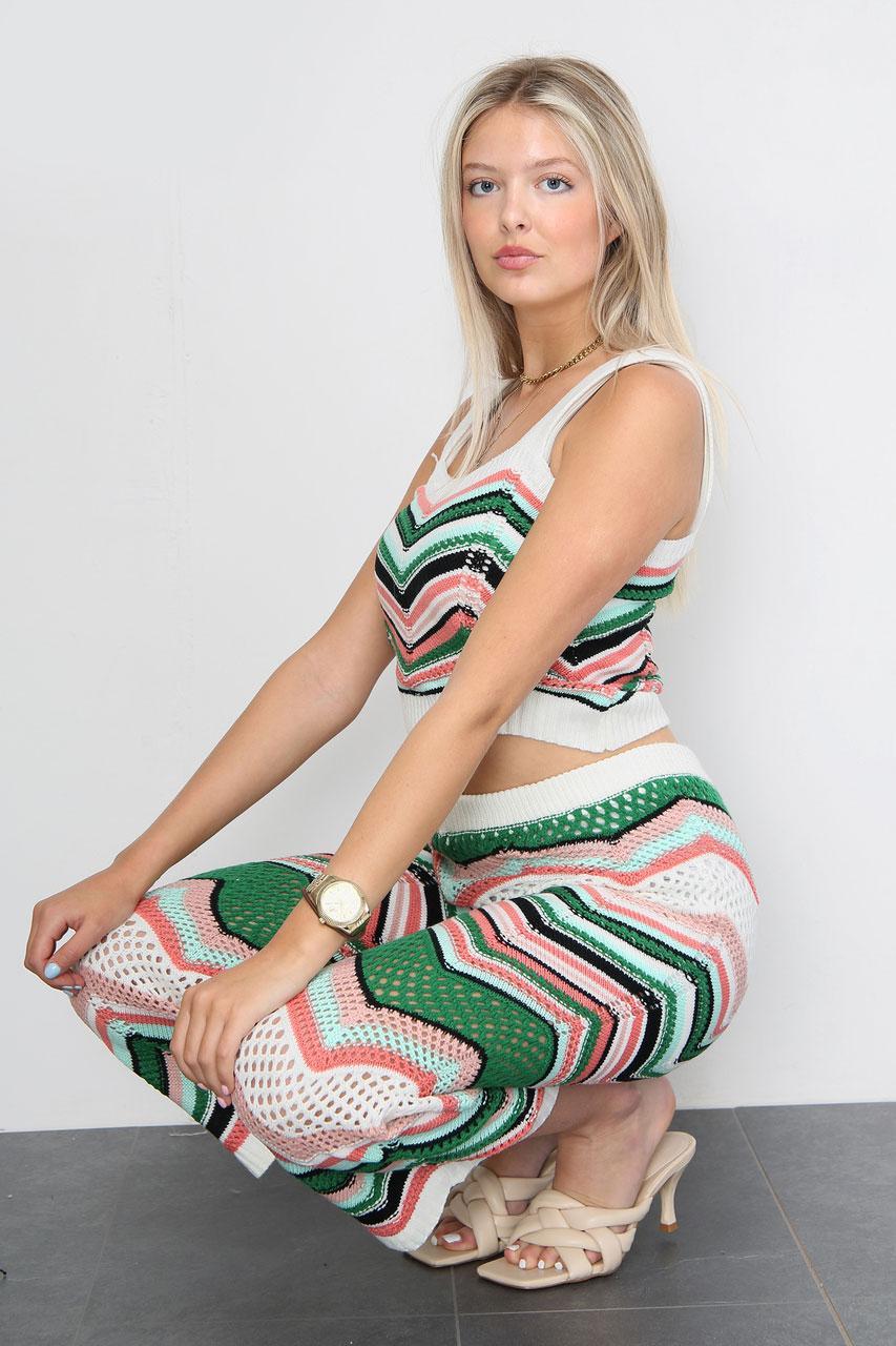 Zig Zag Knitted Capri Trousers Co-Ord Set Green