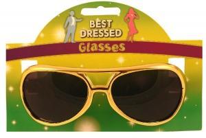 Glasses Adult Gold W/Dark Lens