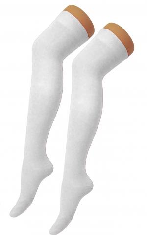 Plain Lycra White OTK Socks (12 Pairs)