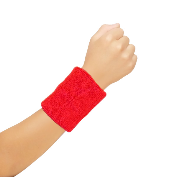 Toweling Wrist Band Red (12 Pairs)