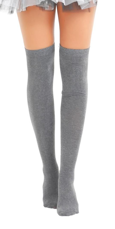 Plain Lycra Grey OTK Socks (12 Pairs)