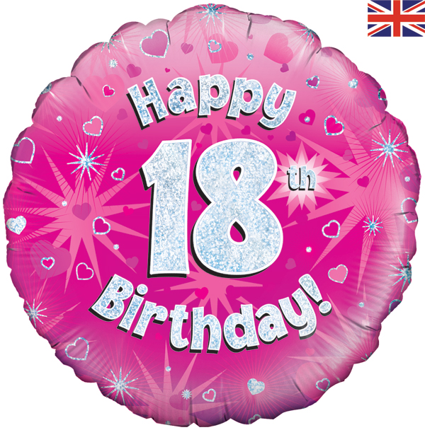 18th Happy Birthday Pink Holographic Balloon (18 Inches