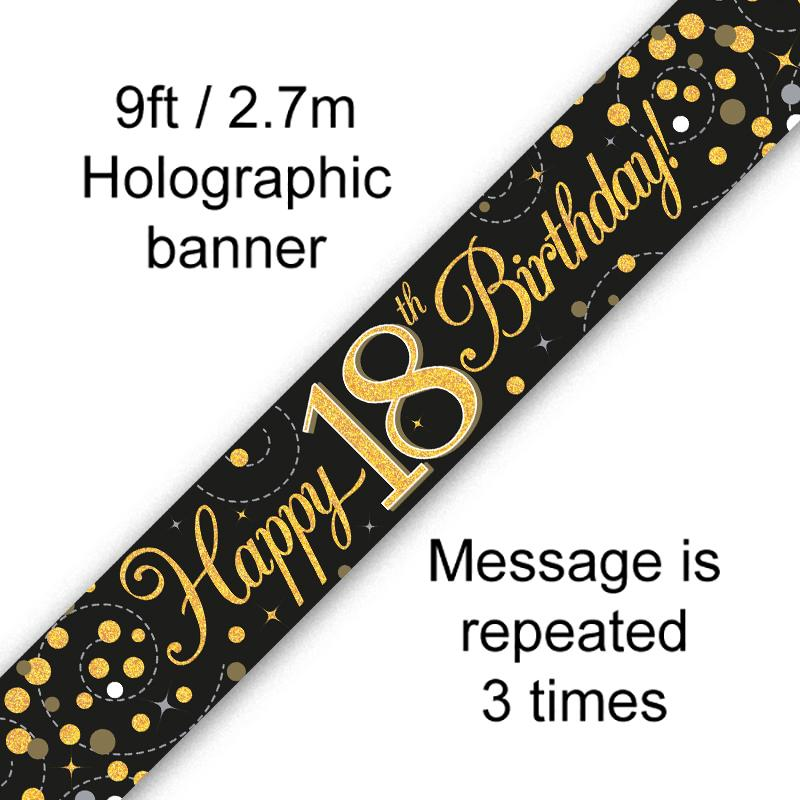 18th Sparkling Fizz Birthday Black & Gold Holographic Banner (9ft)