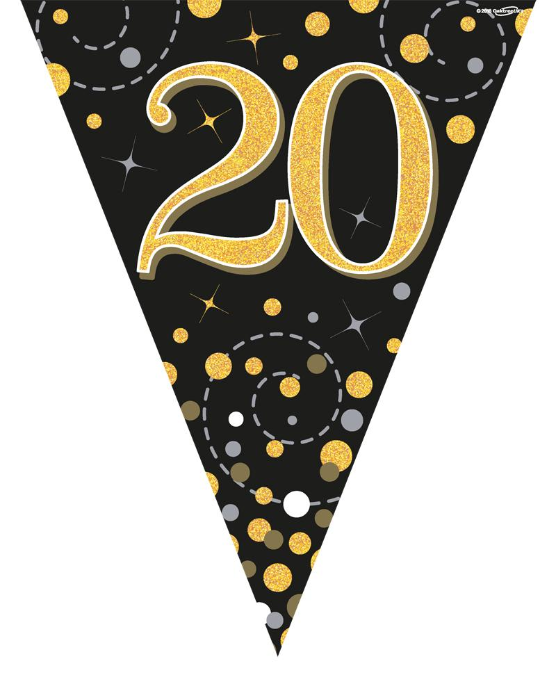 20th Sparkling Fizz Black & Gold Holographic Party Bunting 11 flags 3.9m