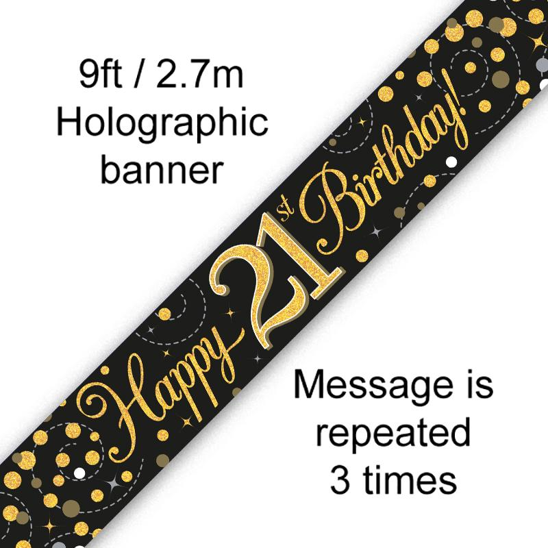 21th Sparkling Fizz Birthday Black & Gold Holographic Banner (9ft)