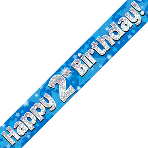 2nd Happy Birthday Banner Blue Holographic (9 ft)