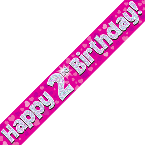 2nd Happy Birthday Banner Pink Holographic (9 Ft