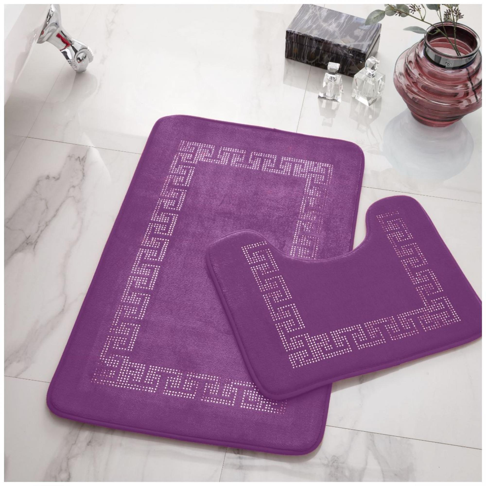 2PC DIAMOND MEMORY BATH MAT PURPLE - 41167099