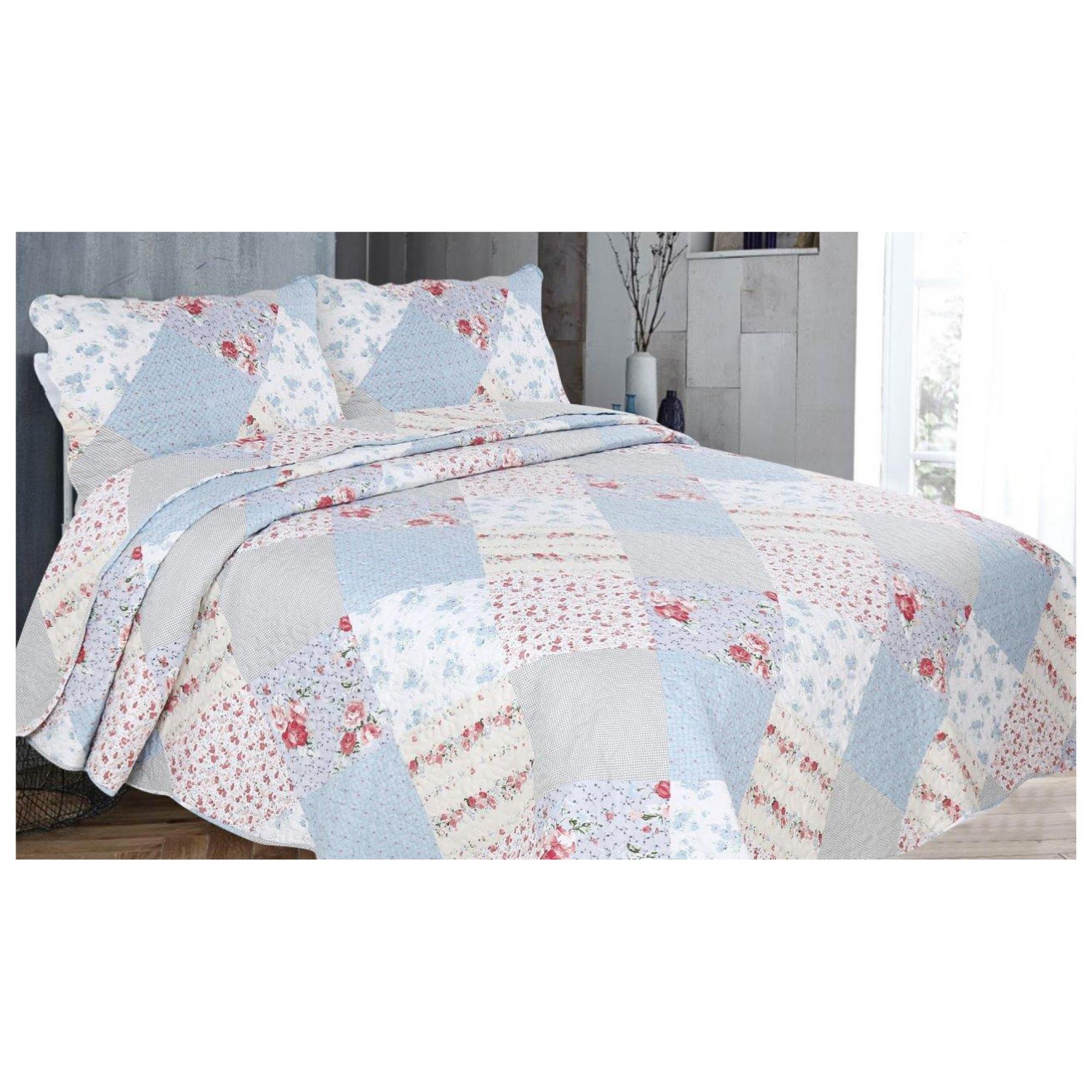 3PC PRINTED BED SPREAD BROK HAMPTON MULTI