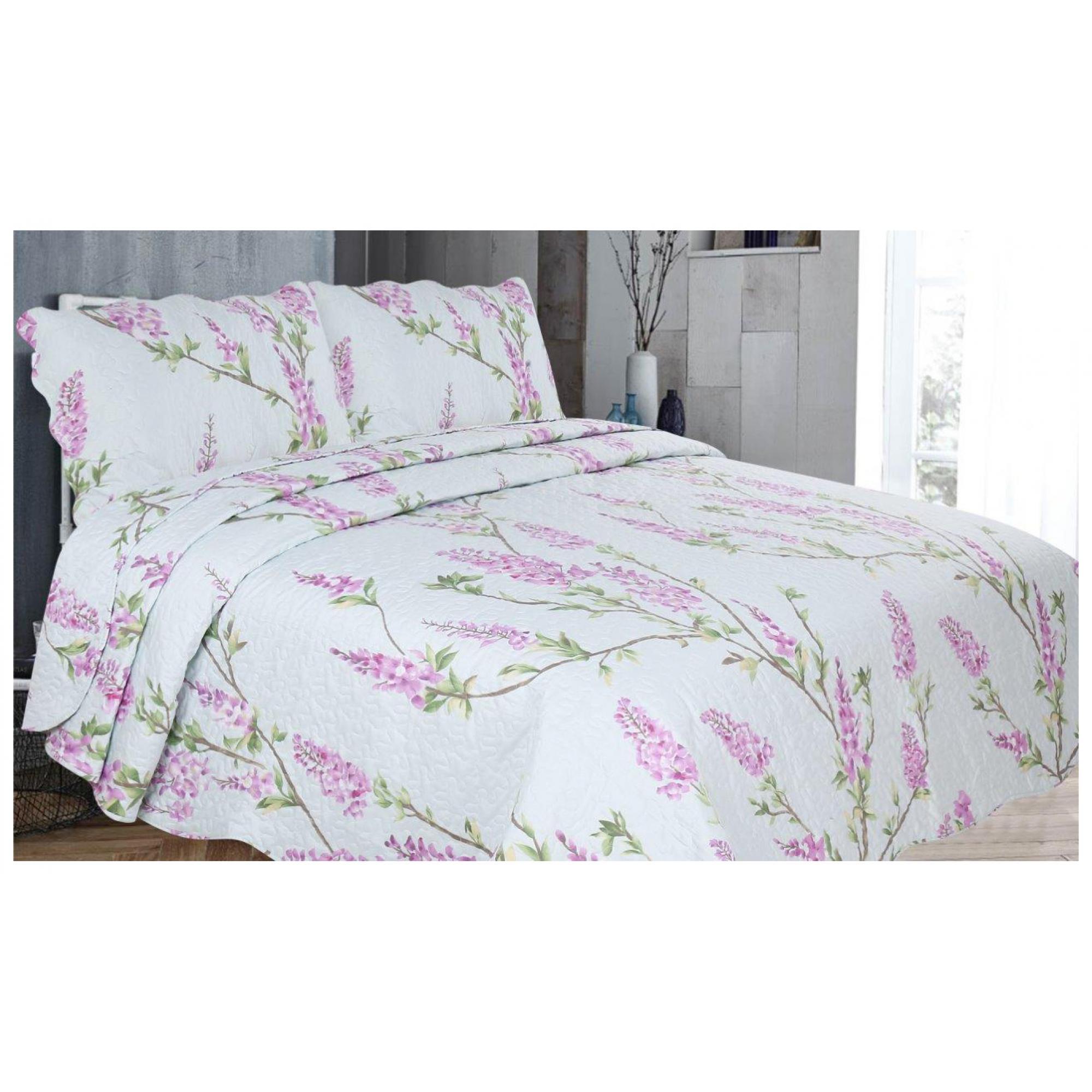 3PC PRINTED BED SPREAD WISTERIA PURPLE