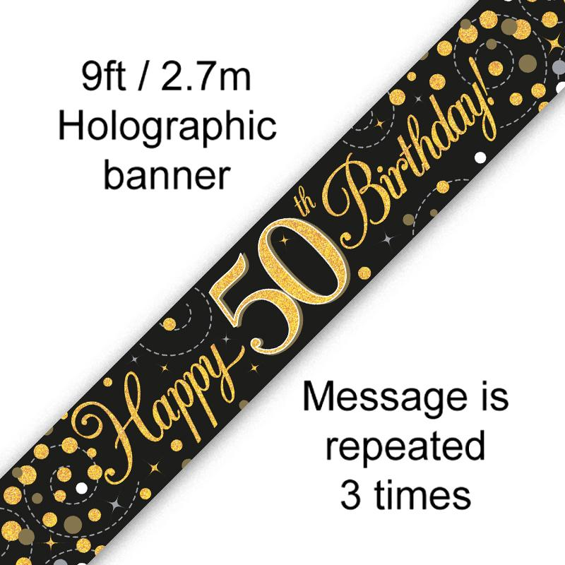 50th Sparkling Fizz Birthday Black & Gold Holographic Banner (9ft)