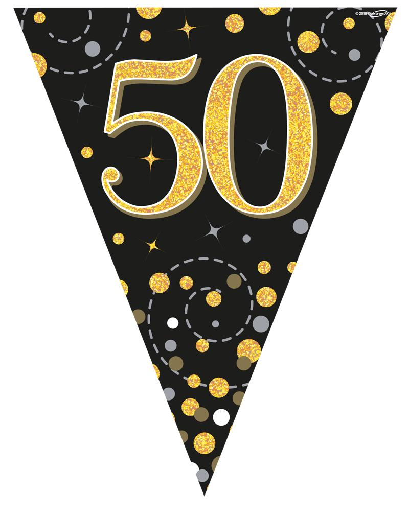 50th Sparkling Fizz Black & Gold Holographic Party Bunting 11 flags 3.9m