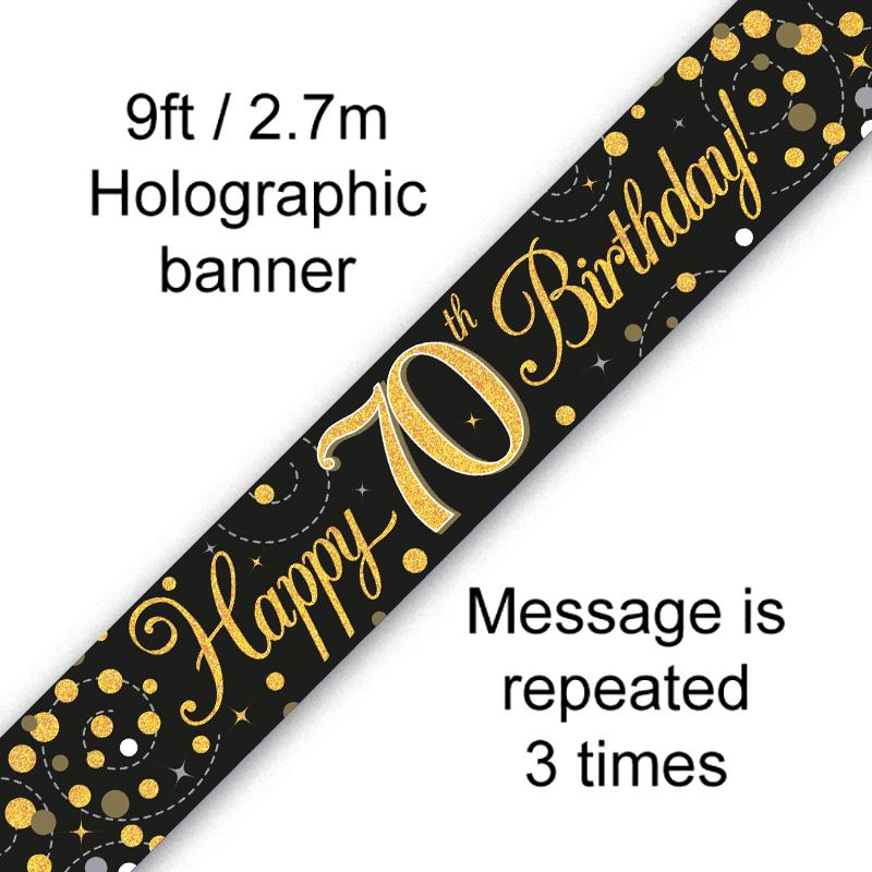 70th Sparkling Fizz Birthday Black & Gold Holographic Banner (9ft)