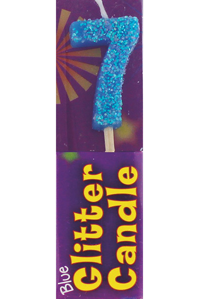 7th Birthday Blue Glitter Candle Pack Of 12