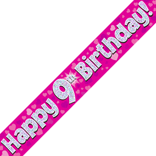 9th Happy Birthday Banner Pink Holographic (9 Ft