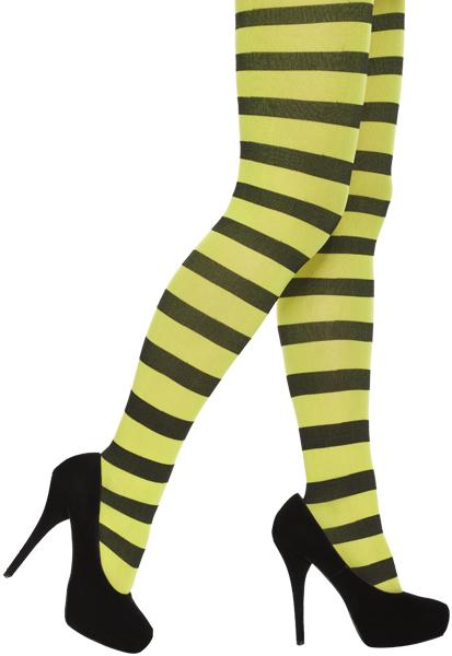 Ladies Black and Neon Yellow Stripe Tights