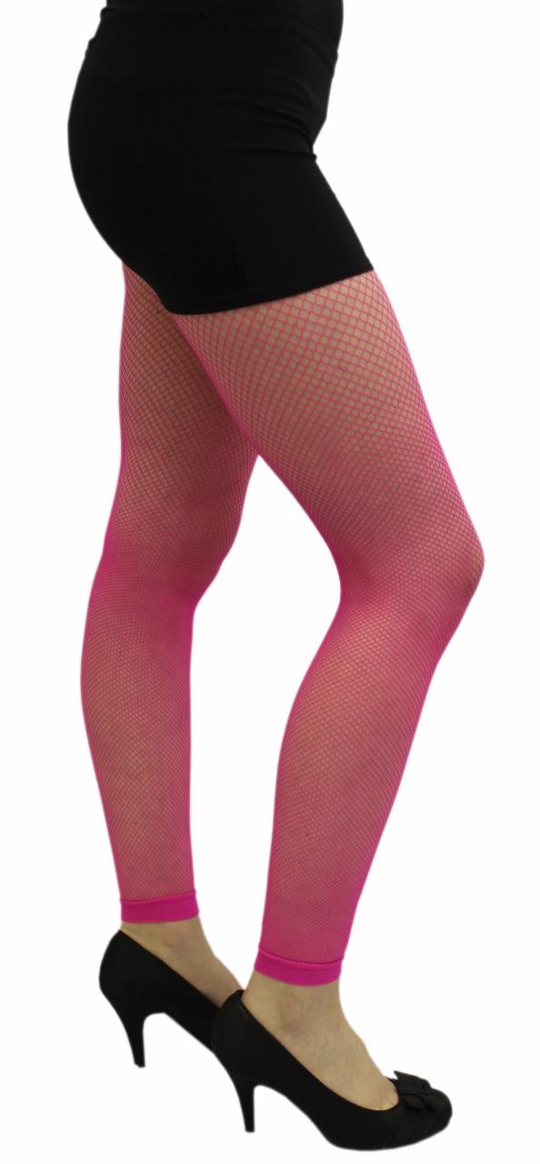 Ladies Neon Pink Fishnet Footless Tights