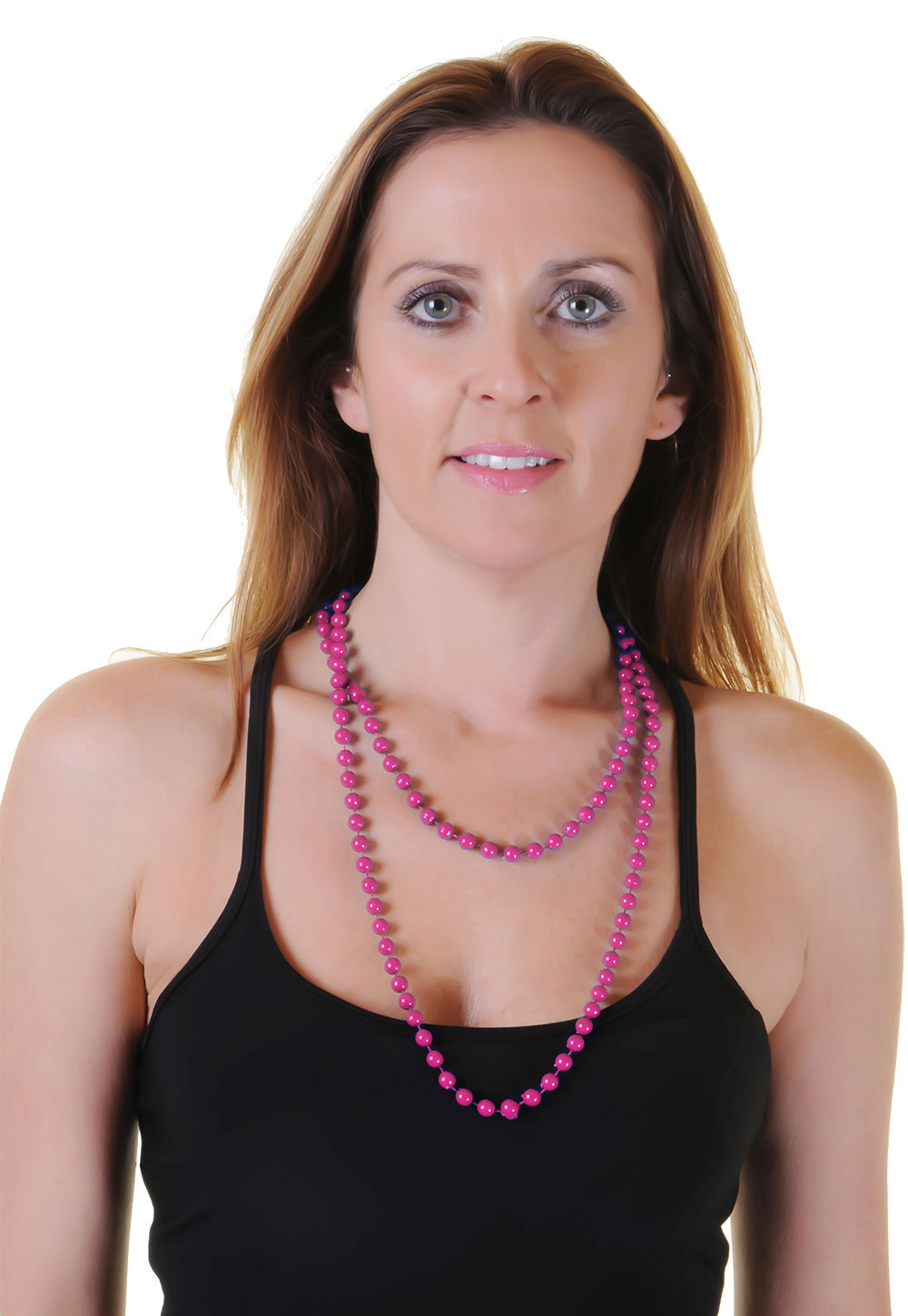 Hot Pink Plastic Bead Necklaces (Approx 48 Inches)