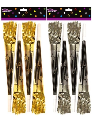 Assorted Fringed Happy New Year Hooters (10 Inches) Pack of 4