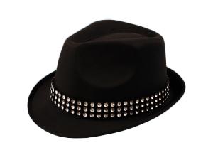 Black Trilby Hat With Gem Stones