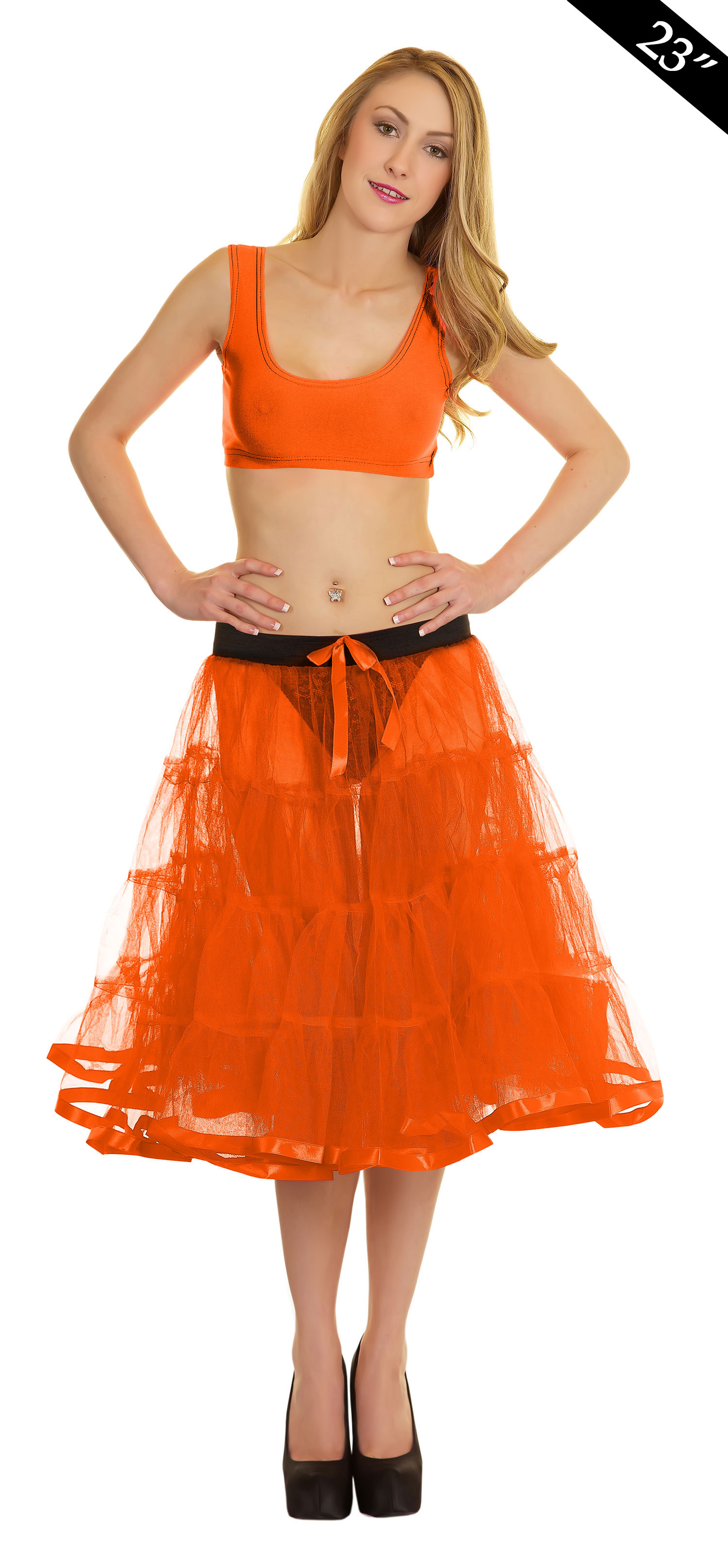 Crazy Chick 4 Tier Petticoat with Ribbon Orange TuTu Skirt (Approximately 23 Inches Long)