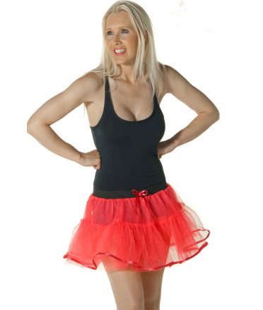 Crazy Chick 4 Layers Red Devil TuTu Skirt With Bow & Trim