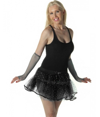 Crazy Chick Sequin 4 Layers  Black TuTu Skirt