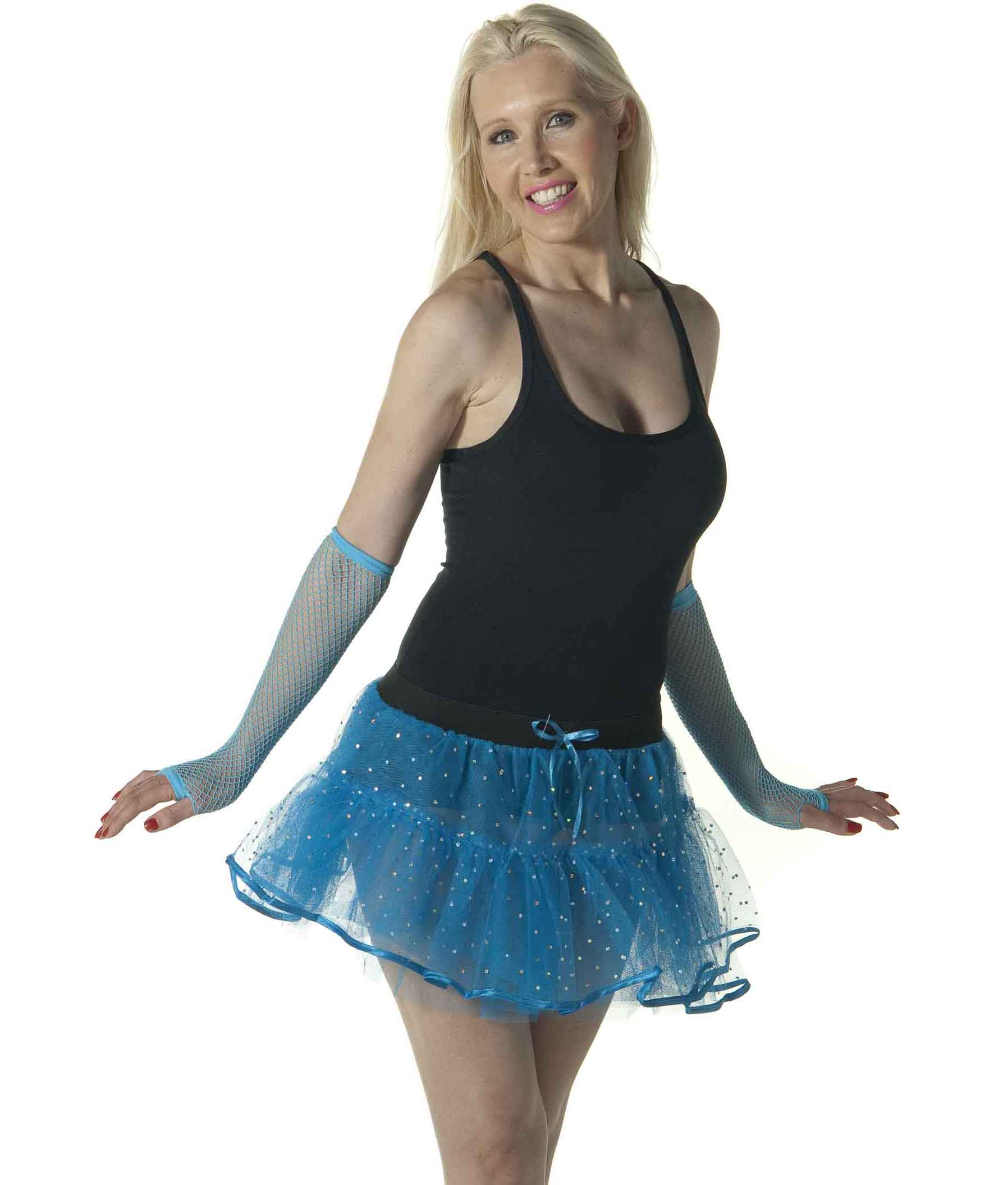 Crazy Chick Sequin 4 Layers Turquoise TuTu Skirt