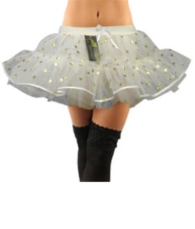 Crazy Chick 4 Layers Star Glitter White TuTu Skirt