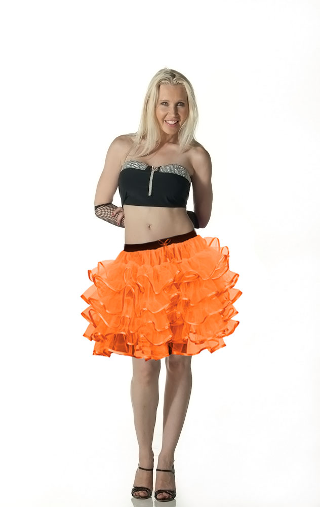 Crazy Chick 5 Layers Orange TuTu Skirt with Ribbon (Approximately 18 Inches Long)