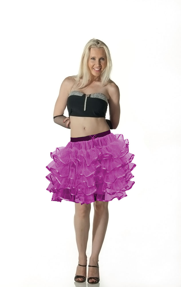 Crazy Chick 5 Layers Purple TuTu Skirt with Ribbon (Approximately 18 Inches Long)