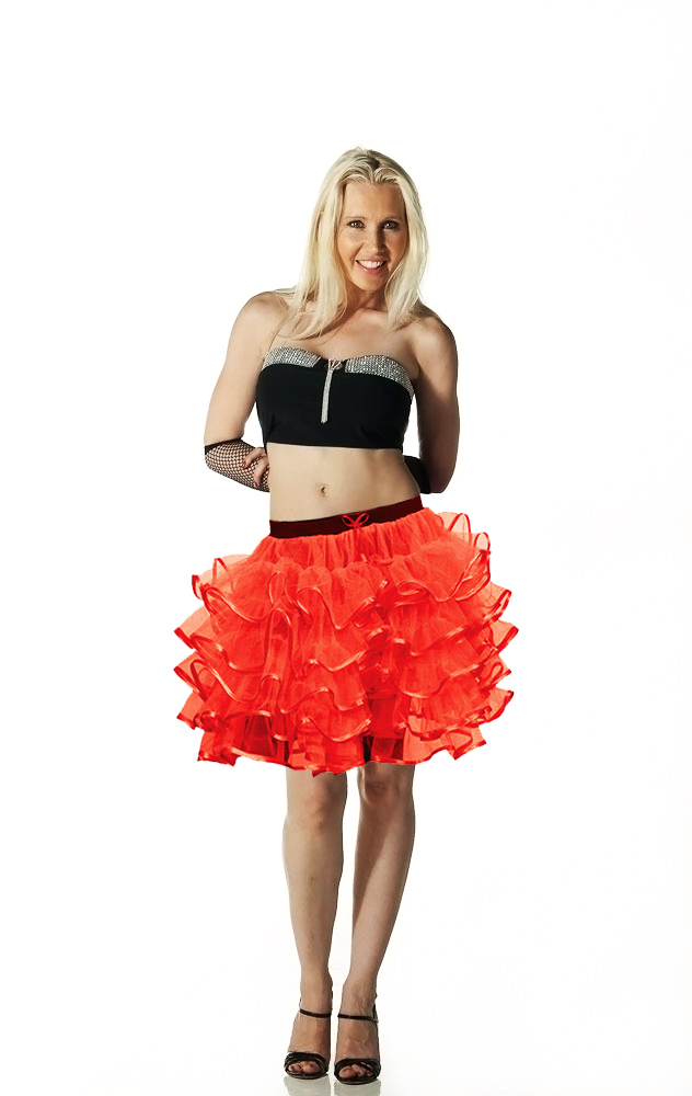 Crazy Chick 5 Layers Red Devil TuTu Skirt with Ribbon (Approximately 18 Inches Long)