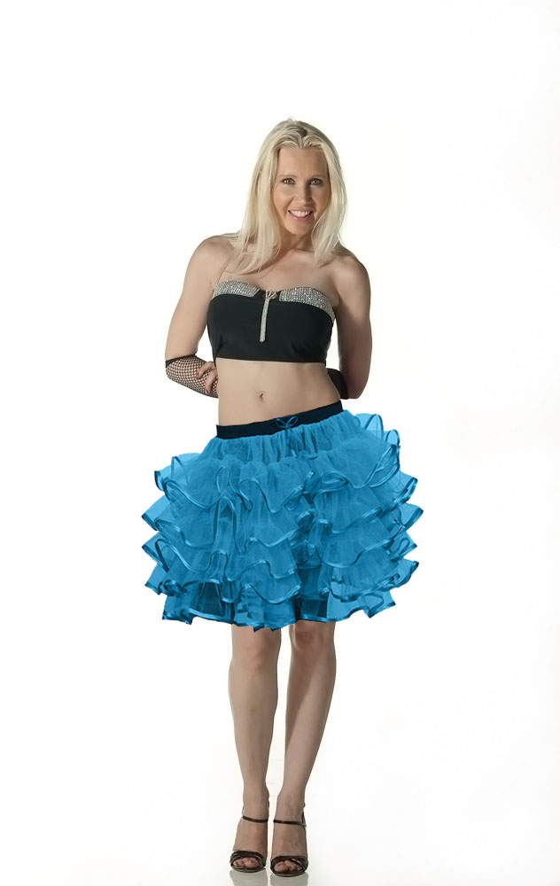 Crazy Chick 5 Layers Turquoise TuTu Skirt with Ribbon (Approximately 18 Inches Long)