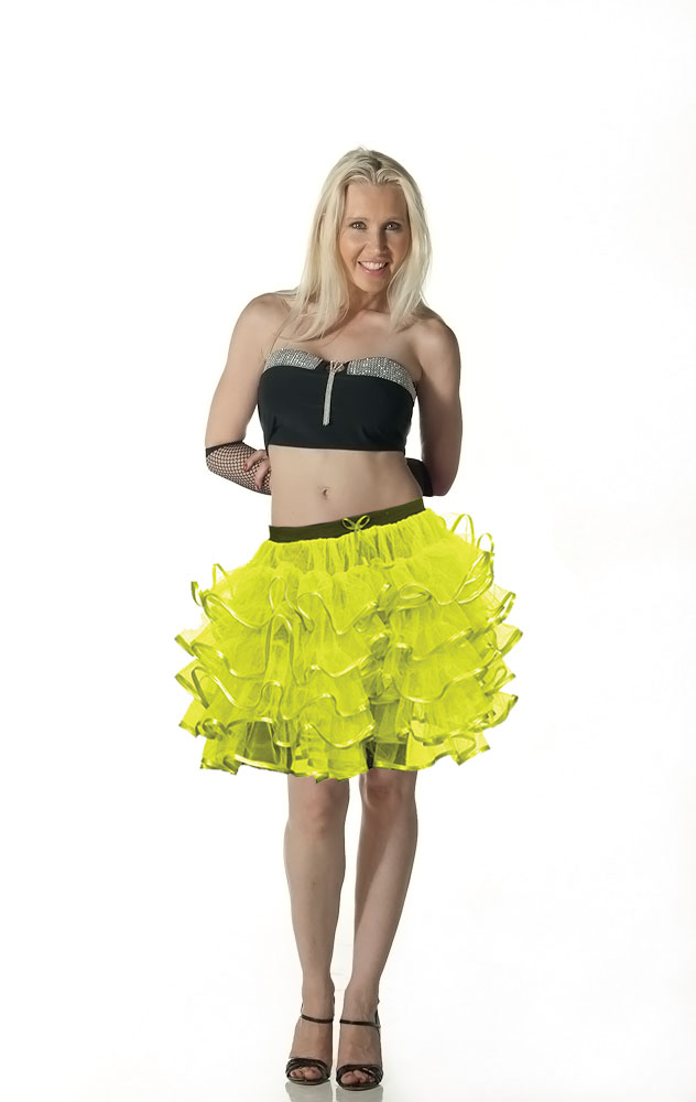 Crazy Chick 5 Layers Yellow TuTu Skirt with Ribbon (Approximately 18 Inches Long)