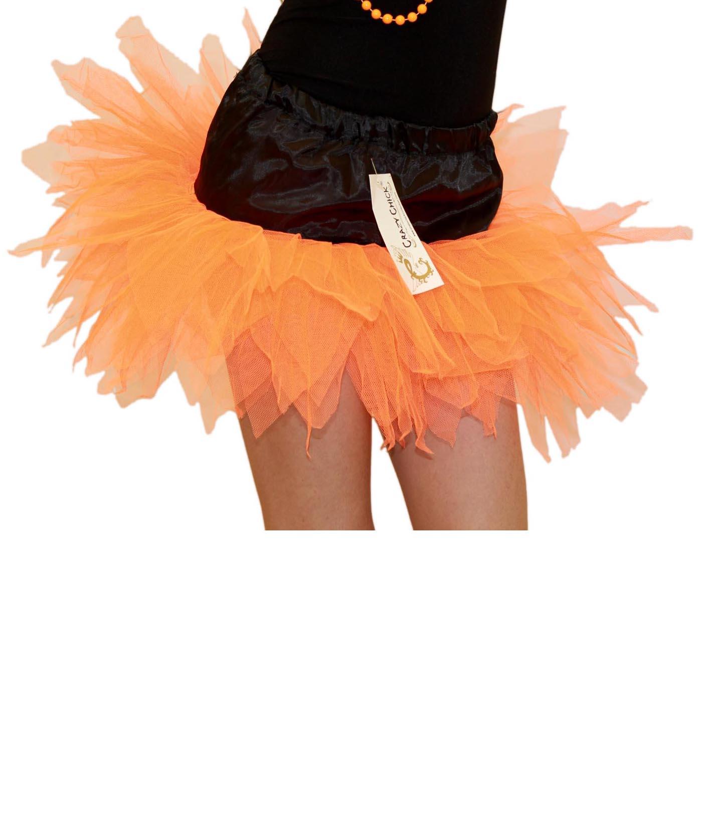 Crazy Chick Girls 6 Layers Petal Orange Black Witch TuTu Skirt (12 Inches Long)