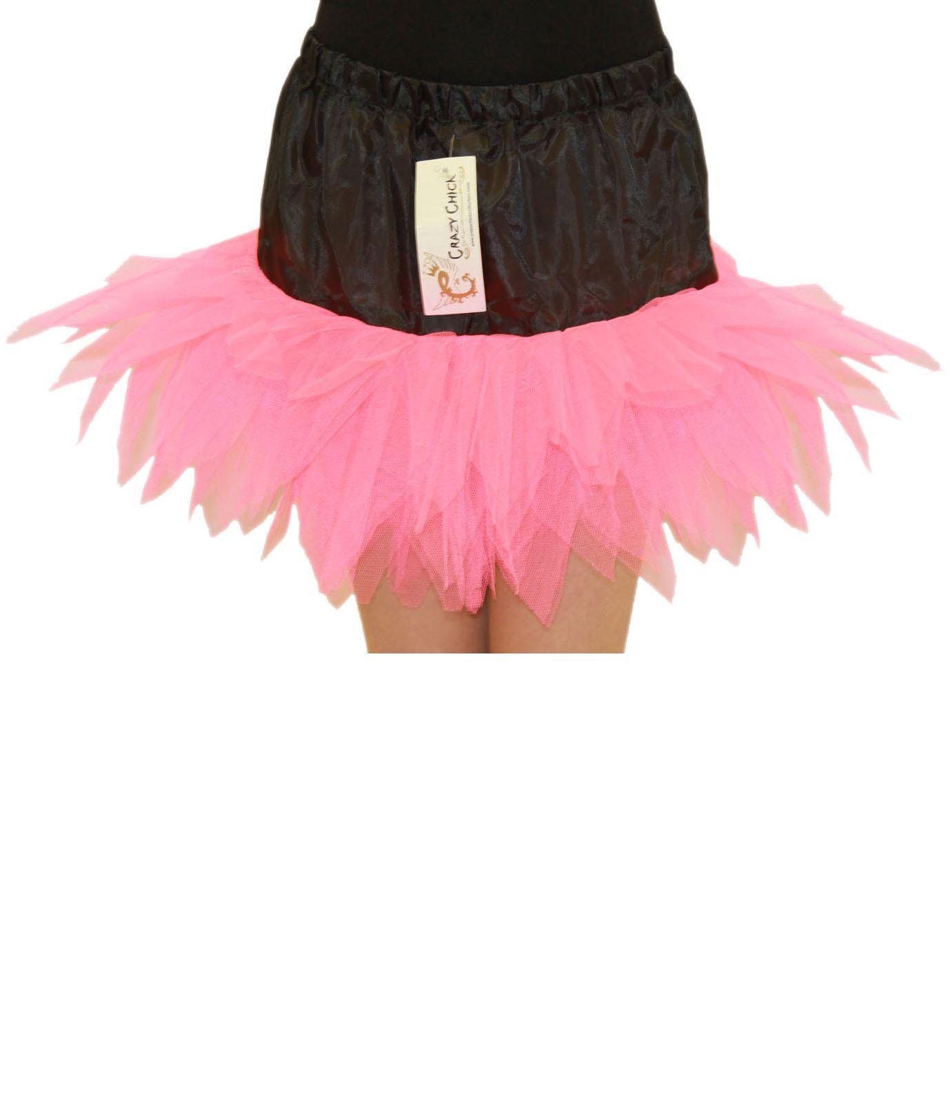 Crazy Chick Girls 6 Layers Petal Pink Black TuTu Skirt (12 Inches Long)
