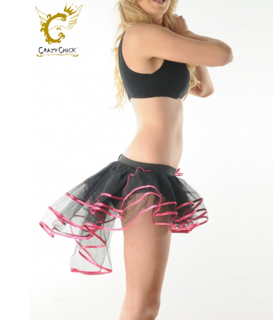 Crazy Chick 3 Layers Black Pink Burlesque TuTu Skirt